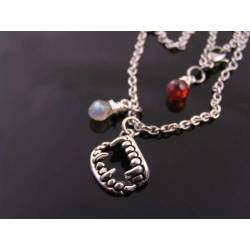 Vampire Fangs Necklace with Labradorite and Red Cubic Zirconia