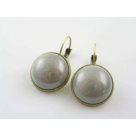 Modernistic Silver and Bronze Earrings