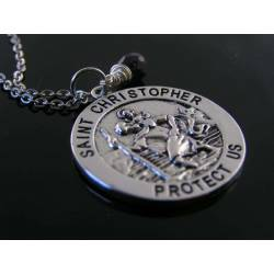 St Christopher Medal Necklace with Birthstone