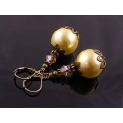 Large Yellow Pearl Earrings