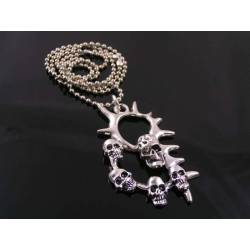 Spikey Skull Pendant Necklace