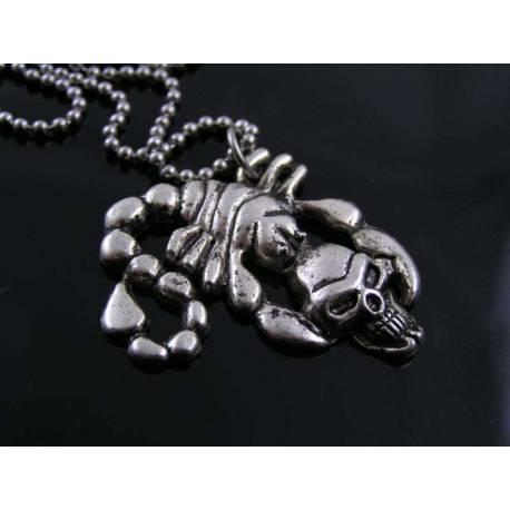 Gothic Skull Scorpio Necklace