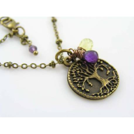 Sweet Tree of Life Necklace with Amethyst and Peridot