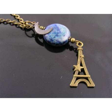 Eiffel Tower with Moon Charm and Lapis Lazuli