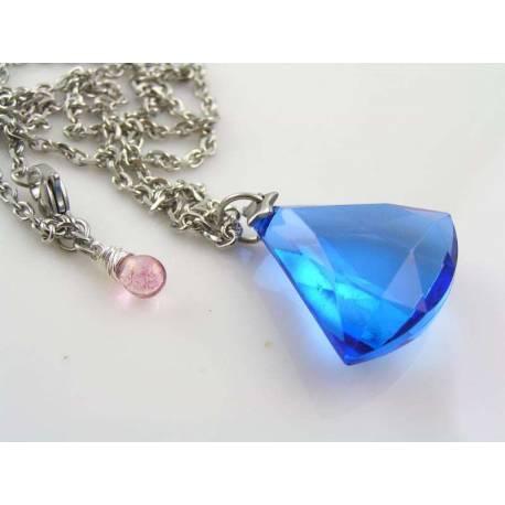 Large Blue Gem Necklace