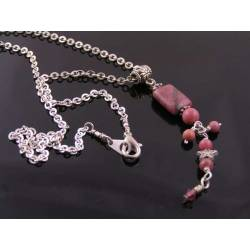 Rhodonite Necklace, Silver Tone