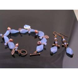 Synthetic Chalcedony and Pearl Bracelet and Earrings