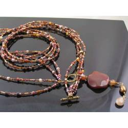 Genuine Agate and Seed Bead Necklace
