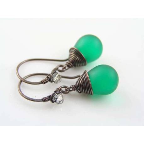 Green Czech Glass Teardrop Earrings