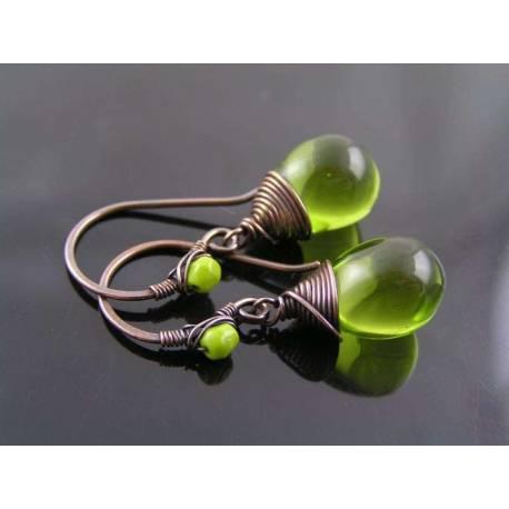 Olive Teardrop Earrings, Wire Wrapped