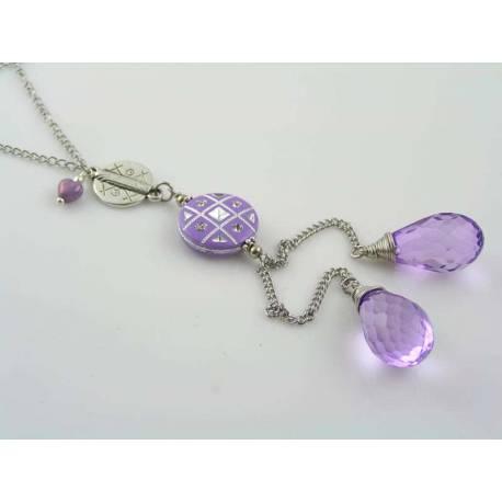 Purple and Silver Tassel Earrings
