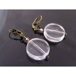 Clear Acrylic Disc Earrings - Retro