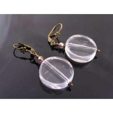 Clear Acrylic Disc Earrings - Retro