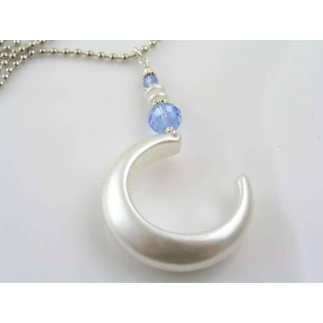 Pearl Moon Necklace with Blue Crystals