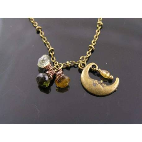Tourmaline and Crescent Moon Charm Necklace