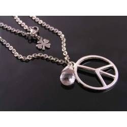 Peace Sign Birthstone Necklace
