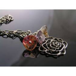 Rose Necklace with Flower Cluster, Gift Idea