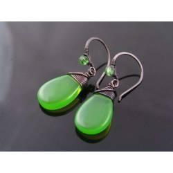 Green Czech Glass Drop Earrings