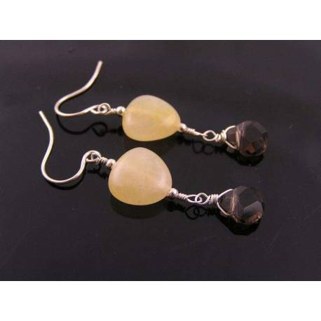 Aragonite Heart and Smokey Quartz Earrings