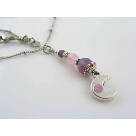 Crescent Moon Necklace with Crystals