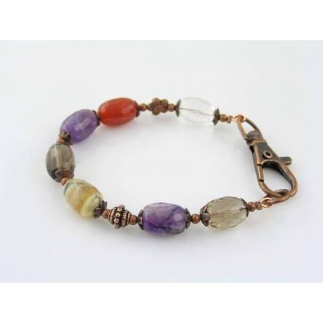 Quartz, Carnelian, Amethyst and Opal Bracelet