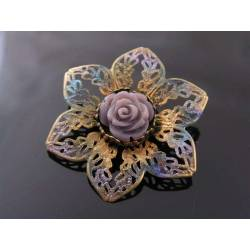 Filigree Flower Brooch, Hand Coloured