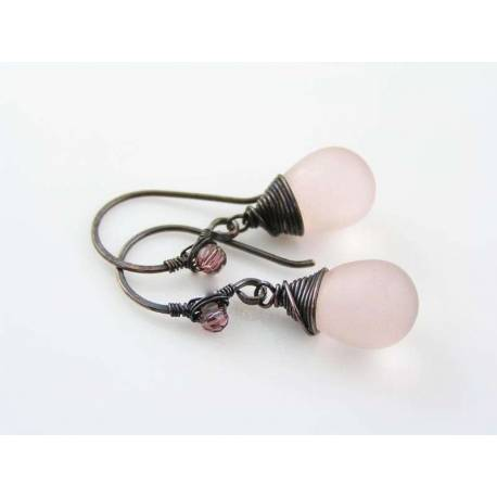 Wire Wrapped Earrings, Pink and Black