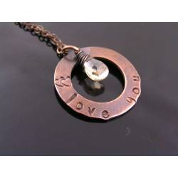 Personalized Necklace with Cubic Zirconia 'Love You'