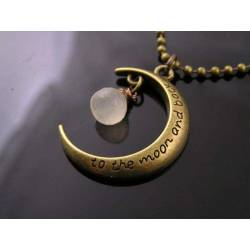 'To the Moon and Back' Crescent Moon Necklace with Moonstone