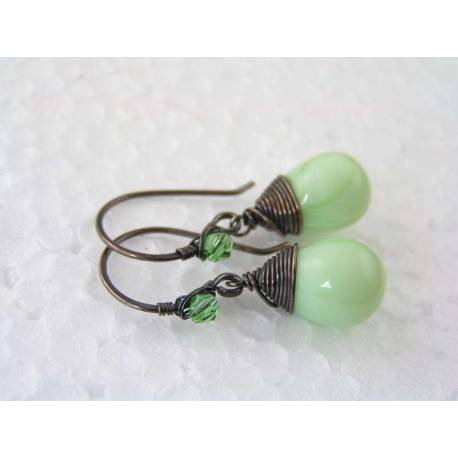 Wire Wrapped Light Green Earrings
