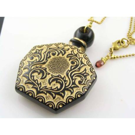 Perfume Bottle Necklace with Garnet