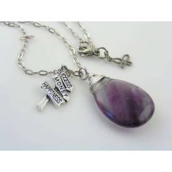 Large Fluorite Gemstone Charm Necklace