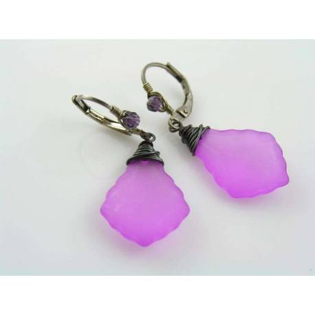 Hot Pink Earrings, Wire Wrapped Baroque Drops