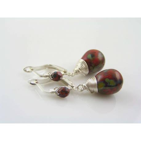 Wire Wrapped Red Earrings