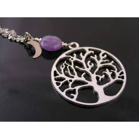 Tree of Life Necklace with Purple Amethyst Moon