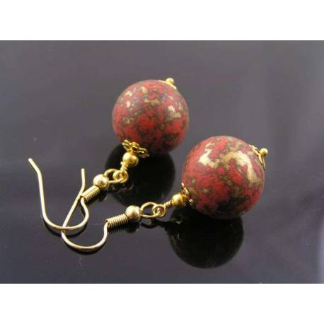Terracotta and Gold Earrings