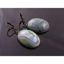 Large Green Drop Earrings, Vintage Cabochon