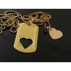 Matching Couple Necklaces, Dog Tag and Heart, Brass