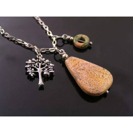 Desert Jasper, Unakite and Tree Charm Woodland Necklace