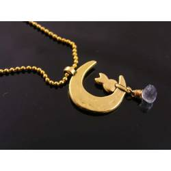 Cat in Moon with Blue Topaz Necklace