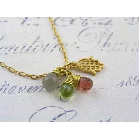 Hamsa Hand Necklace with Grey Moonstone, Garnet and Peridot