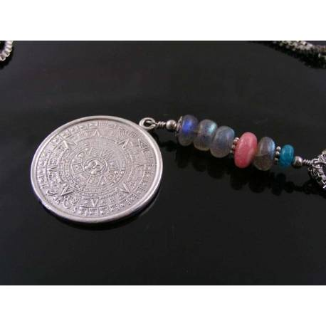 Aztec Calendar, Labradorite, Rhodochrosite and Apatite Necklace