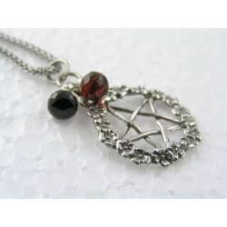Pentagram Necklace with Black Spinel and Garnet