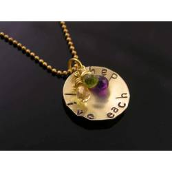 'Live each day' Hand Stamped Pendant Necklace with Gorgeous Gemstones, Citrine, Amethyst and Peridot