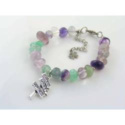 Fluorite Bracelet with Inspirational Road Sign, Success Money Happiness
