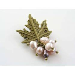 Maple Leaf Brooch with Freshwater Pearls