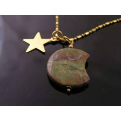 Carved Green Opal Moon Necklace