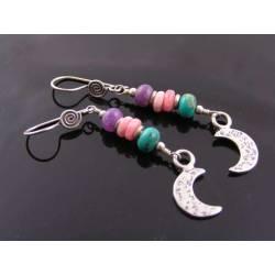 Gemstone Moon Earrings