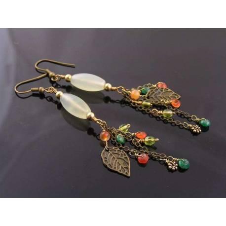 Serpentine, Gemstone and Leaf Earrings