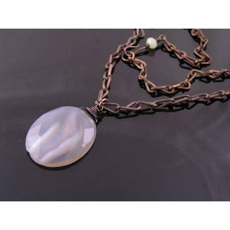 Handmade Chain with Chalcedony Pendant